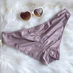 🧄 Metallic Purple Ruched Back Mini Bikini Bottoms